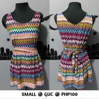 Colorful Multicolor Rainbow Sleeveless Zigzag Dress