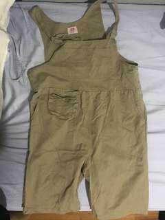 Khaki denim overalls