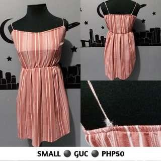 Pink Stripes Spaghetti Strap Dress