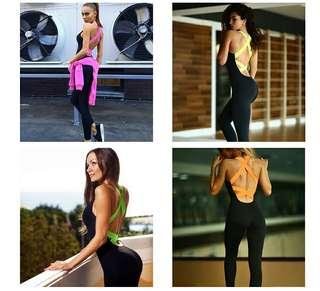Womens One Piece Backless Sport/Activewear outfit. 4 Colours