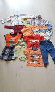 Bundle of 12 Preloved Baby Clothing (Fox Baby/Mothercare/Carter's)(0-6M)