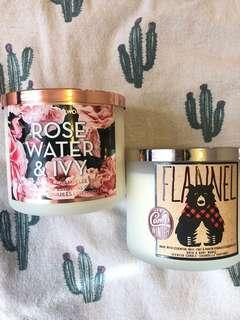 Bath & Body Works candles x2 - Rosewater and Ivy & Flannel (3-wick)