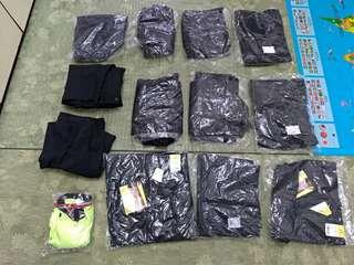 黑色 全新多口袋工作褲+螢光POLO衫一起賣 尺吋38~40