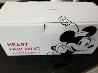 francfranc micky mouse  minnie  heart pair mug 米奇 米妮 心型 杯 一套2隻