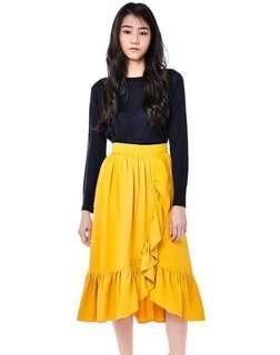 Hiromi Ruffle Midi Skirt Marigold TEM