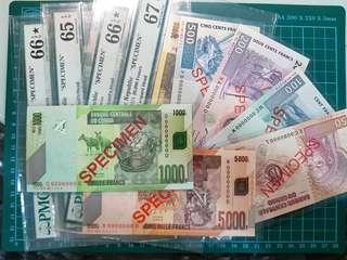 Total 10 specimen notes for sale