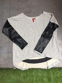 4S - grey long sleeves sweater (leather sleeves)