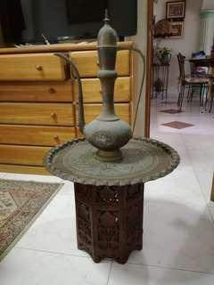 Antique brass decorative & teak table