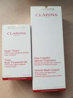 clarins Tonics body treatment oil 100ml + stretch mark control 200ml 妊娠紋