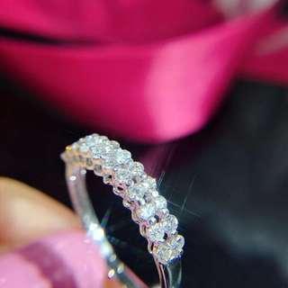 新品!18k白金雙排戒指, 鑽石共40份!鑽石白 G~H色!