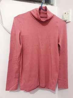 Uniqlo xs size 深粉紅樽領 高領上衣 貼身 內搭 Pink Turtle Neck Top Turtleneck Top