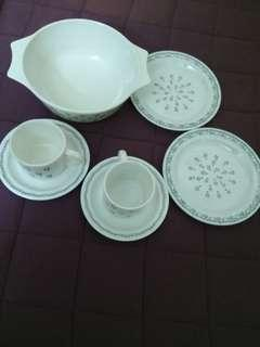 Pyrex cups and small plates