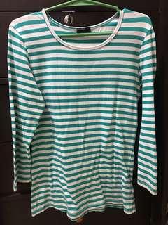 Blue green stripes shirt