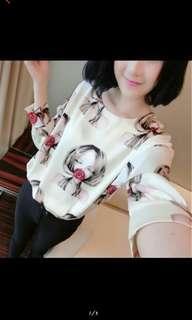 🚚 韓版新款女裝上衣女孩印花長袖t恤