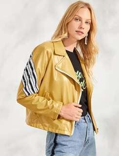 NEW Yellow Mustard Zip Up Pocket Neck Jacket Leather jaket kulit kuning blink beads size S manik mute manik-manik