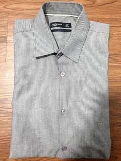 Men's Long Sleeve Collar Shirt - Grey Lined Design