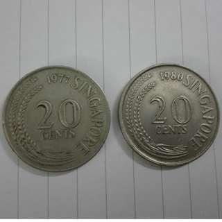 (CN 0105) 1977 & 80 Singapore 20 cents x 2