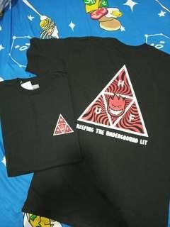 全新HUF logo spitfire tee Size M 黑色 black T-Shirt