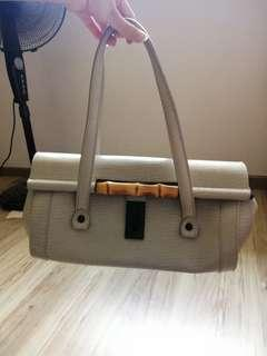 Authentic Gucci Monogram Bamboo Bullet Bag in Grey
