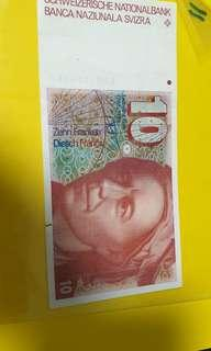 Swiss bank notes  $10