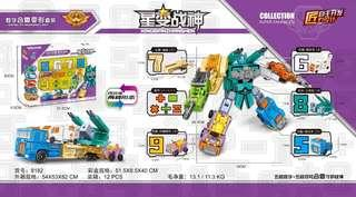 5 Pack Numbers Transform Vehicle Jet Truck Combine into 1 Giant Robot Big Set