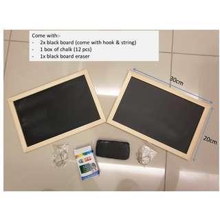 black board set comes with chalk and black board eraser