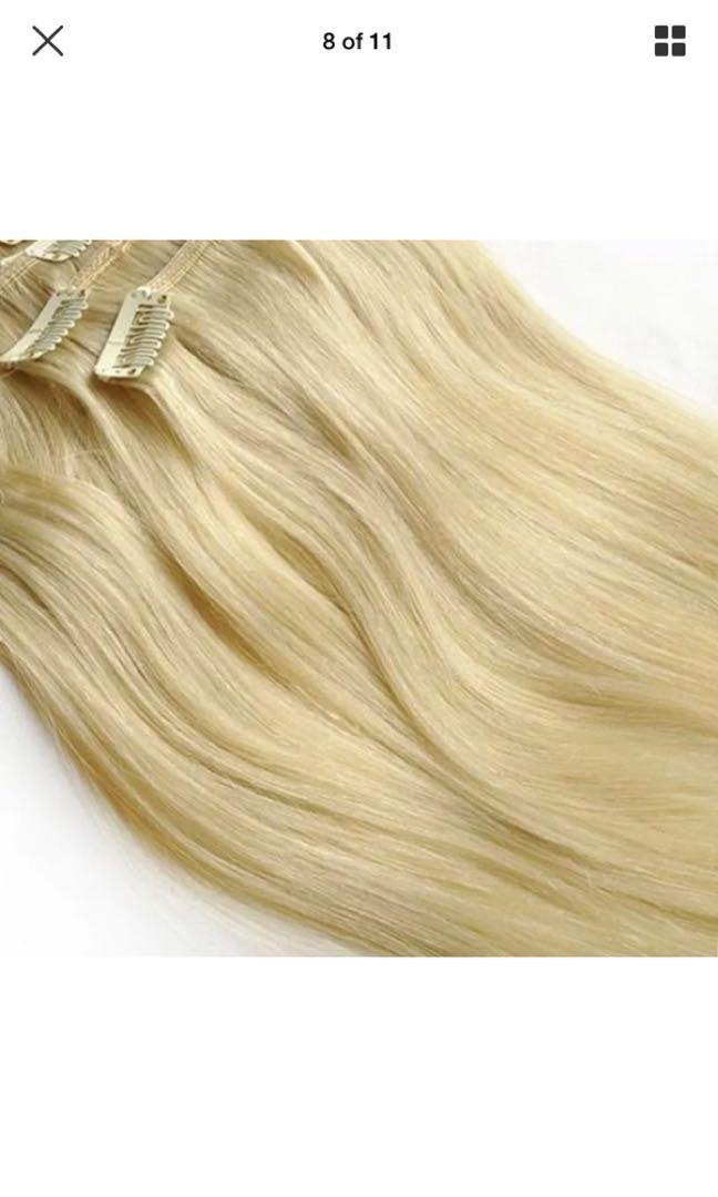 """#60 platinum blonde 👱♀️ clip ins 16"""" thick real rent hair"""