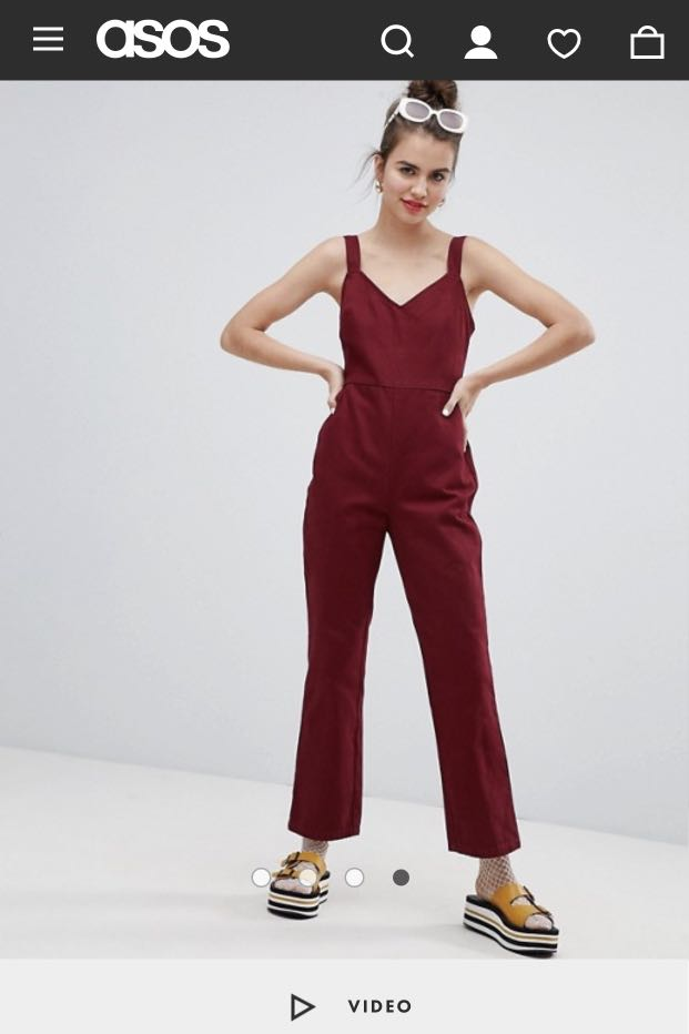 c9c244f1d77 ASOS DESIGN denim jumpsuit with kickflare in berry