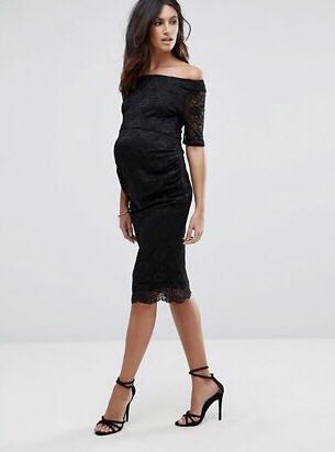 07dcd5f35a ASOS Maternity Bardot Dress with Half Sleeve in Lace