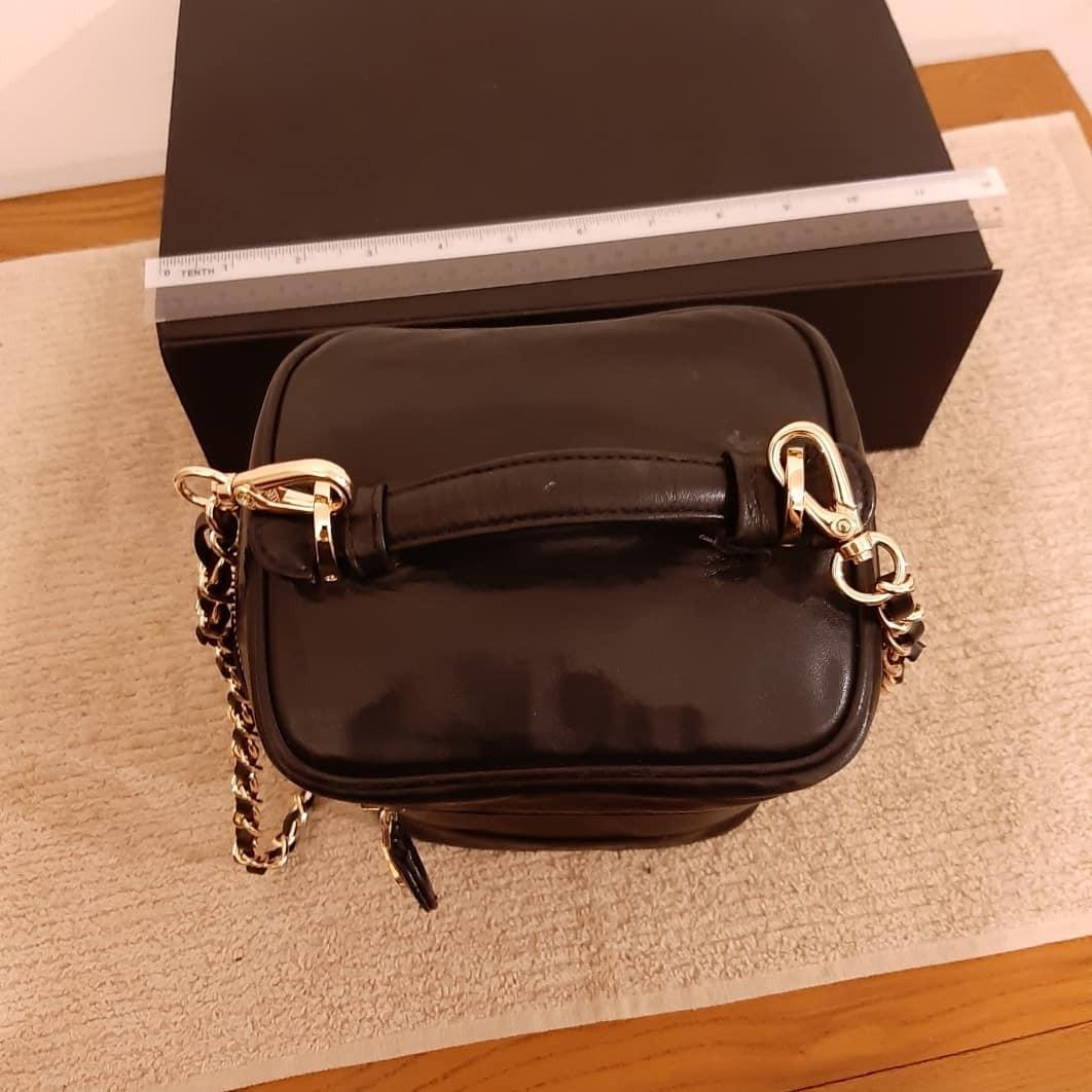 SOLD - AUTHENTIC CHANEL TALL VANITY BAG - BLACK LAMBSKIN LEATHER - CLEAN INTERIOR - SOLID SHAPE STRUCTURE -  COMES WITH EXTRA LONG CHAIN STRAP FOR SLING / CROSSBODY - (CHANEL VANITY BAGS NOW RETAIL OVER RM 15,000+) -
