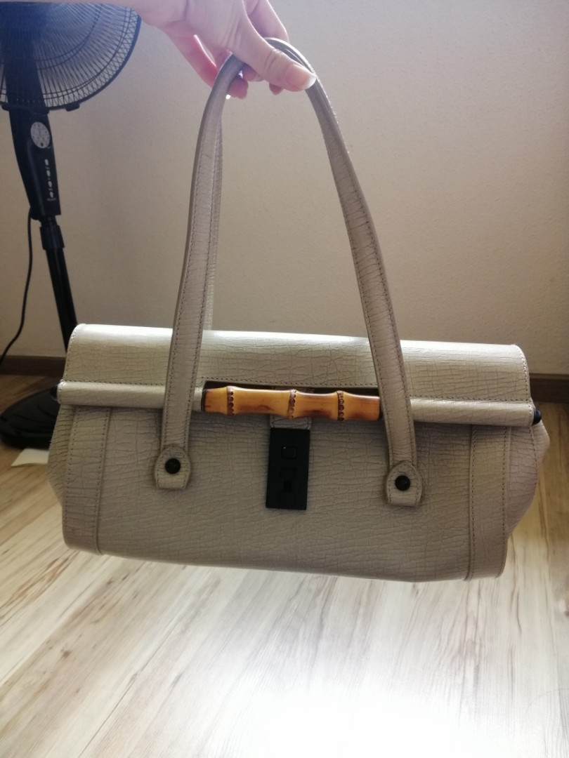 b975b5349cc6ee Authentic Gucci Monogram Bamboo Bullet Bag in Grey, Luxury, Bags ...