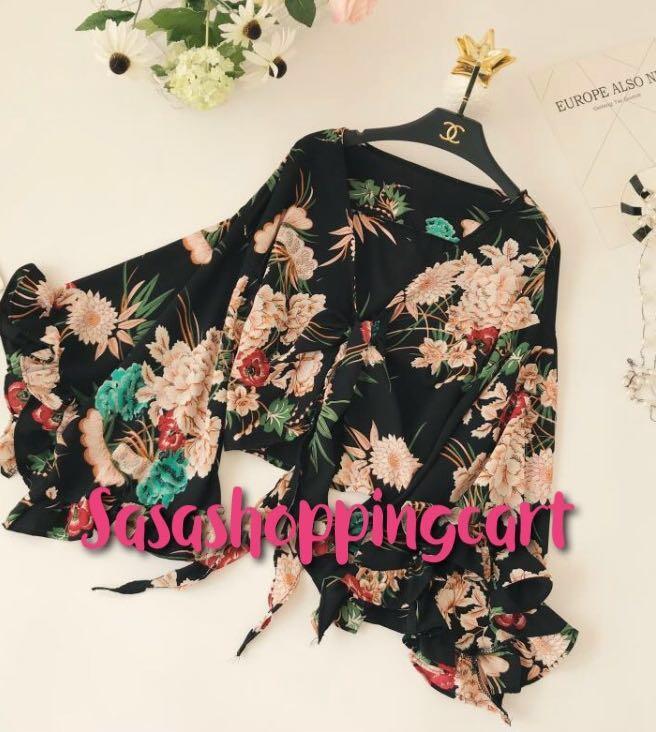 (Black)V-neck bandwidth loose large code ruffled trumpet sleeves chiffon shirt super fairy temperament doll shirt shirt sunscreen shirt
