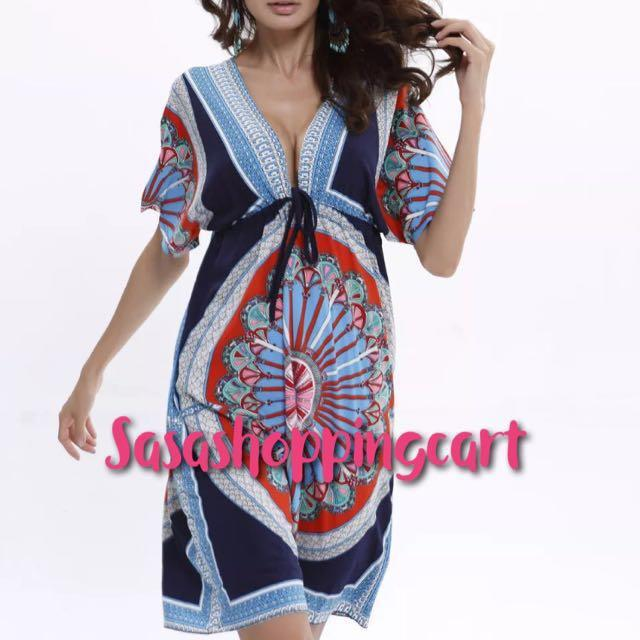 (Blue) Stylish Ladies Women Loose Sexy V-neck Retro Style Beach Dress