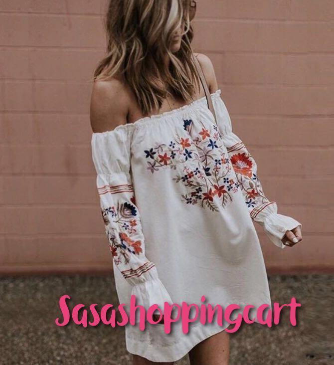 (Blue/ White) Women's one-shoulder fashion print dress
