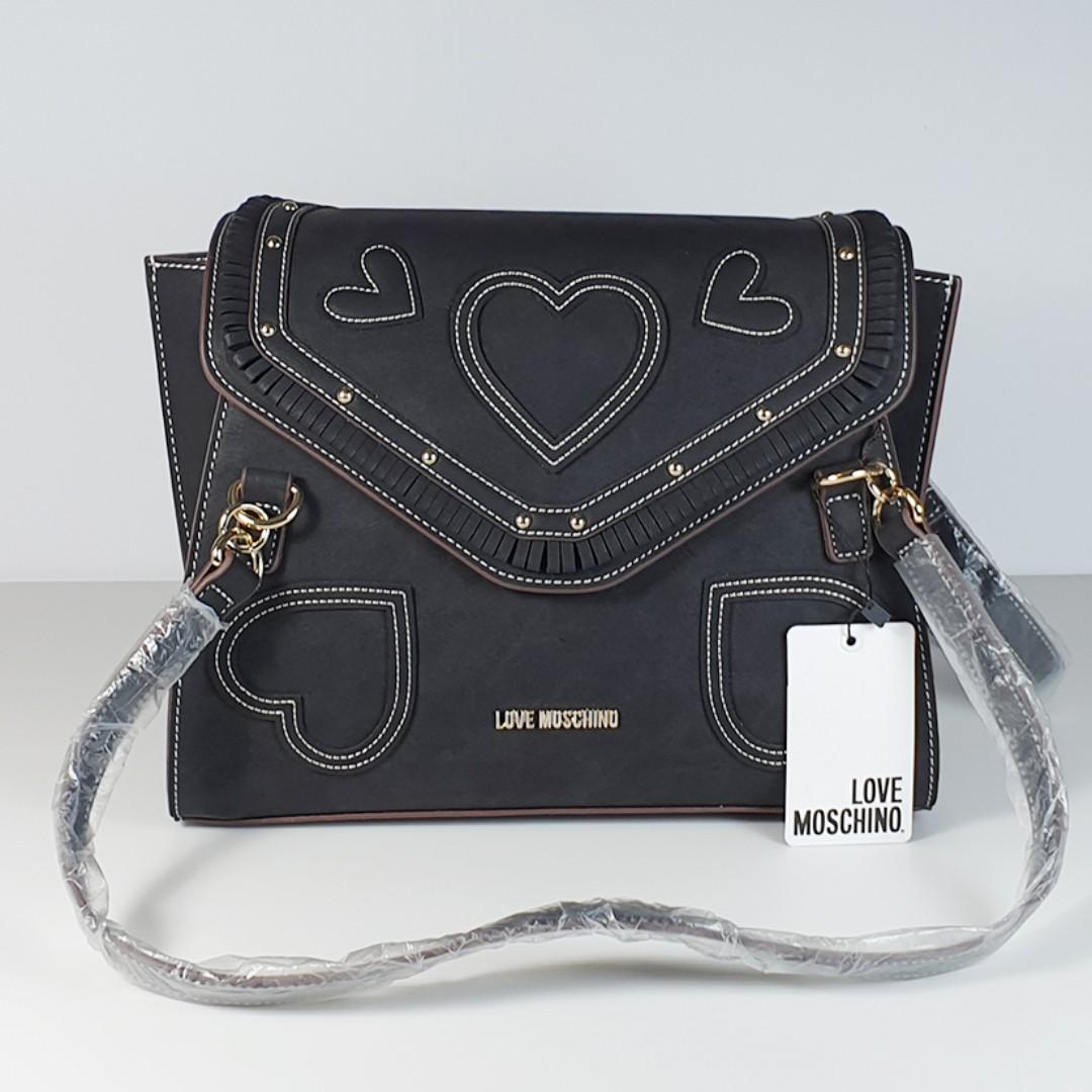 79e0e5a8f8 Clearance Sale! Love Moschino - Borsa Nabuk PU Nero Shoulder Bag ...