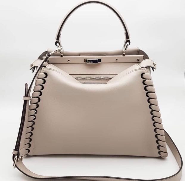02268683a59597 Fendi peekaboo regular in powder grey, Women's Fashion, Bags ...
