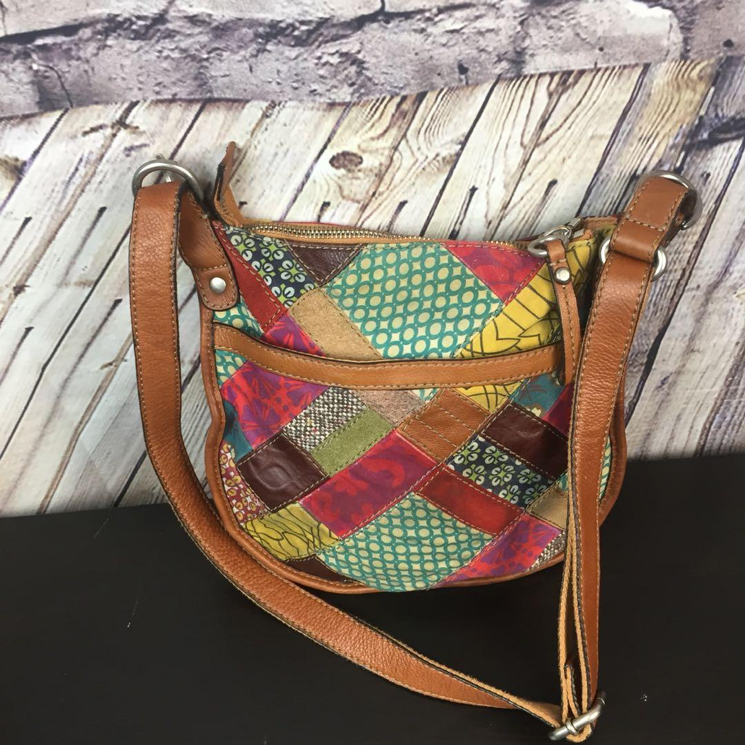 Fossil Leather Canvas Trim Patchwork Saddle Leather Cross-body Bag