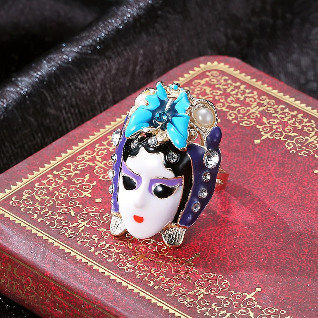 Hand Made Unique Stylish Traditional Chinese Opera Facial Makeup Ring (Wood Box)