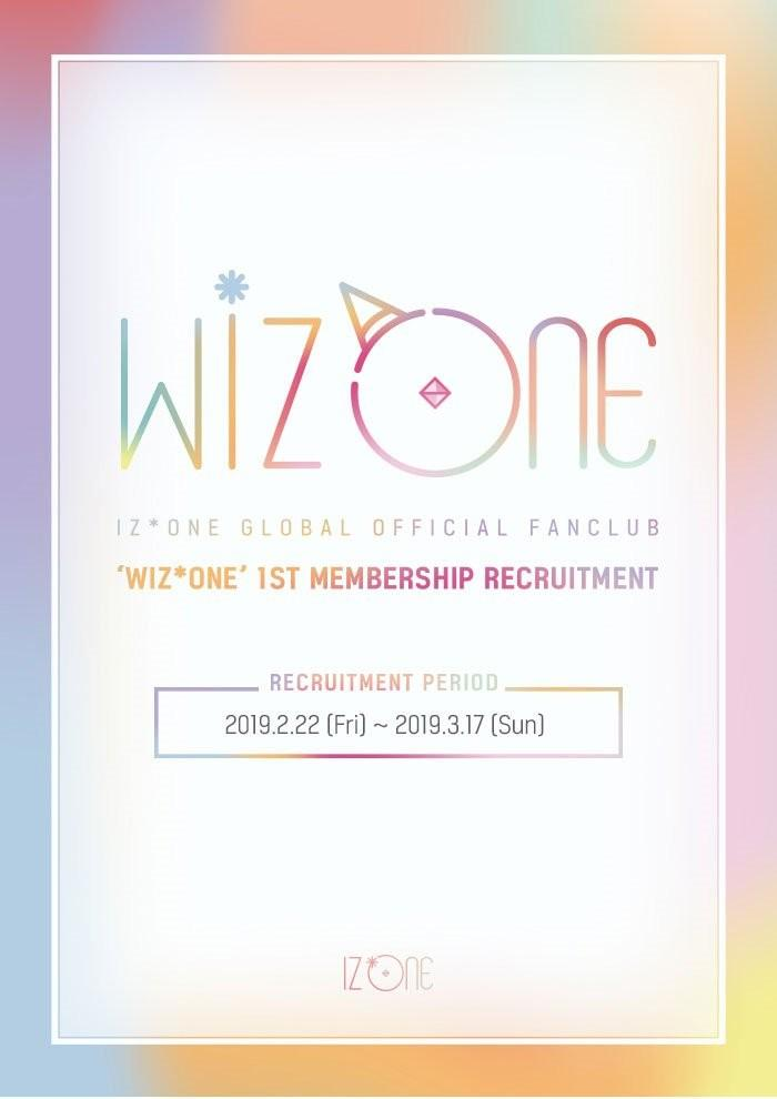 IZ*ONE GLOBAL OFFICIAL FANCLUB 'WIZ*ONE' 1ST MEMBERSHIP RECRUITMENT IZONE