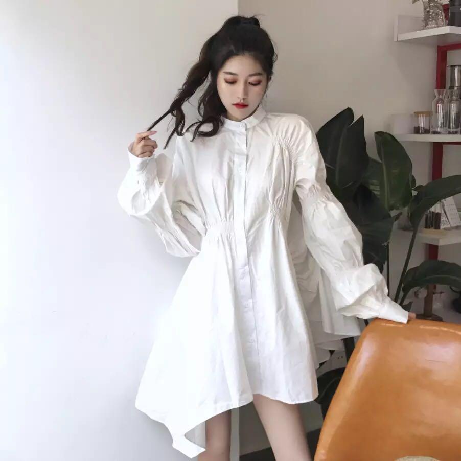 Korean Style Blouses Long Sleeves Irregular White Shirts Dresses