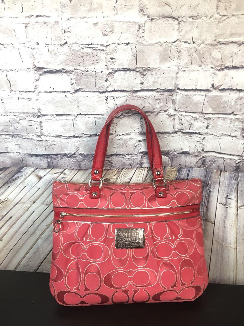 """Large Coach Poppy *Limited Edition"""" Red Signature Tote Shoulder Handbag 15389"""