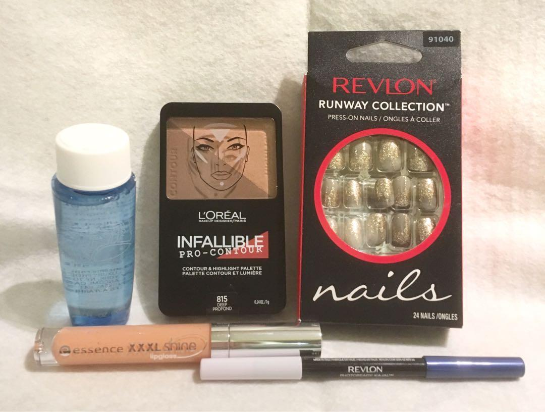 Lot of Brand New Revlon LOreal and Lancôme Cosmetics Contour Eyeliner Nails lipgloss Makeup Remover
