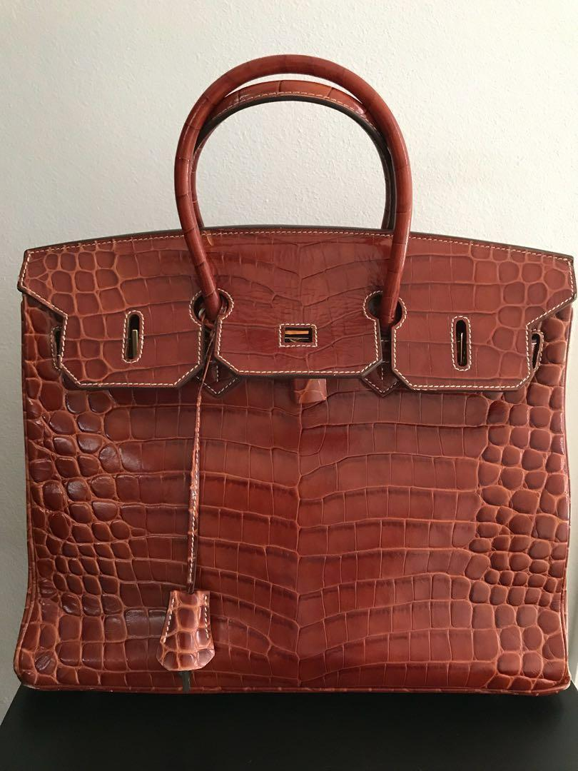 Luxury tan croc leather hand bag
