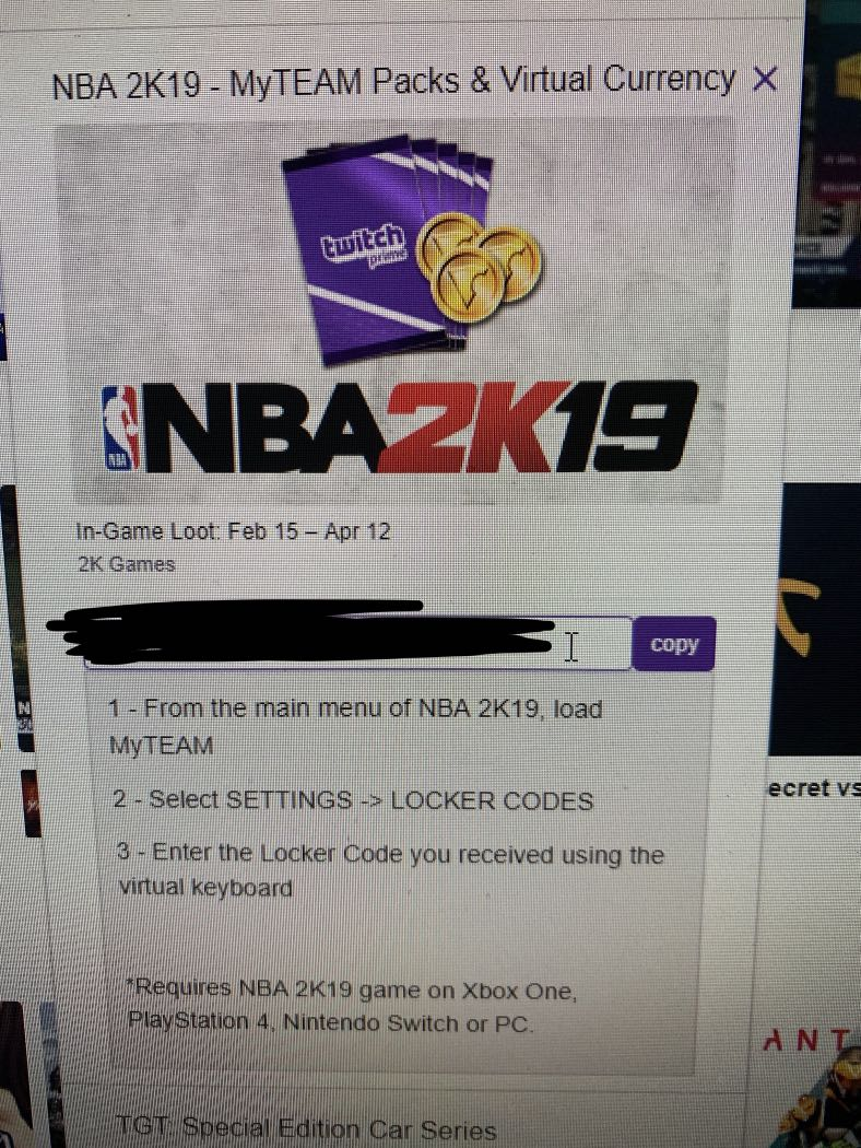 NBA 2k19 twitch prime pack, Toys & Games, Video Gaming, In-Game