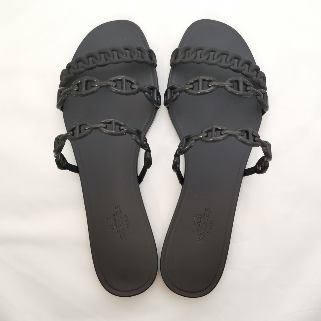 0fb3d3991 New Hermes Black Rivage rubber sandals size 37 available. Other ...
