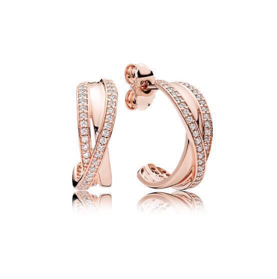 ba214e257 PANDORA Entwined Hoop Pandora Rose Earring, Women's Fashion, Jewellery,  Earrings on Carousell