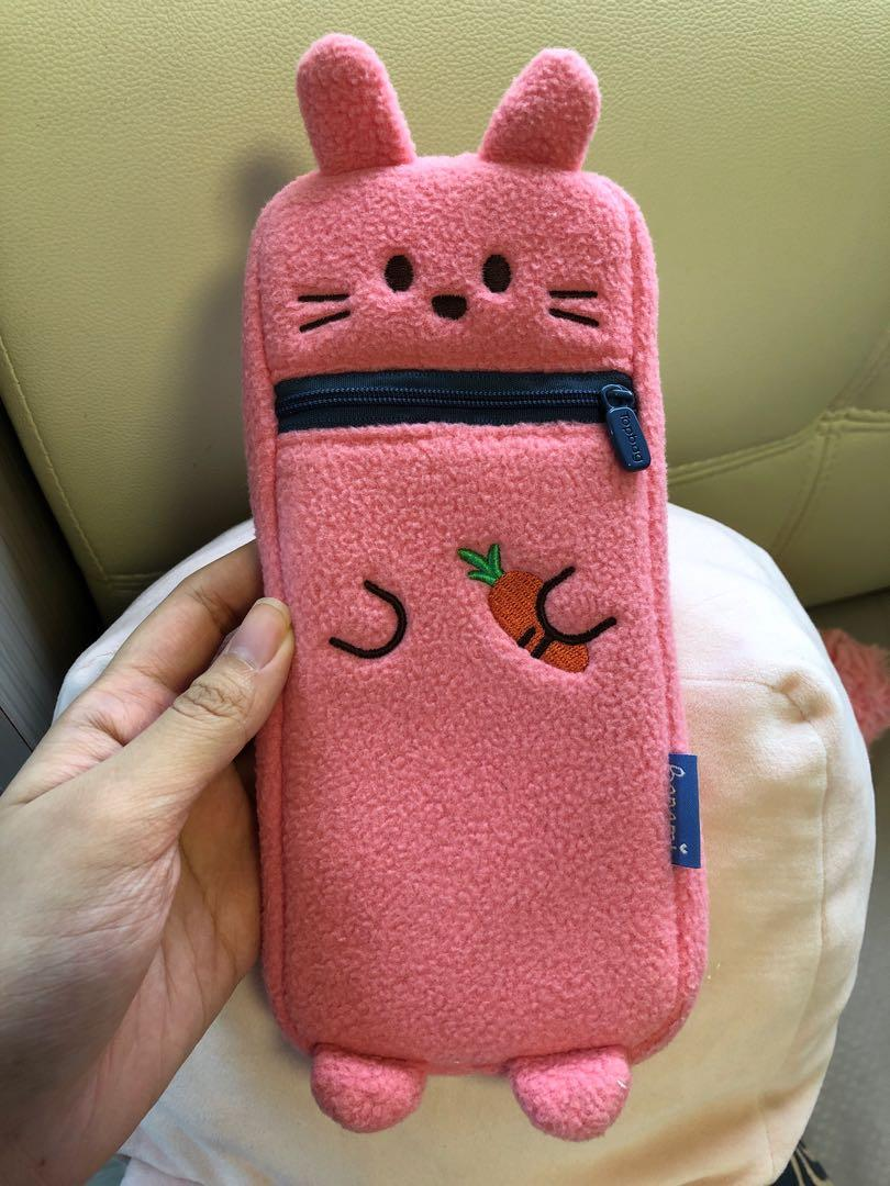 Pink bunny rabbit pencil case