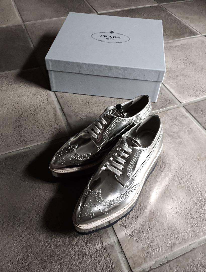 97c8aeacb92 ⭐️Prada Metallic Silver Leather Platform Brogues Sneakers Shoe ...