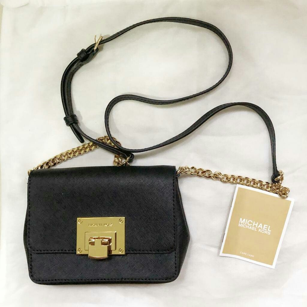 c64db54506daea Preloved Vvgc Michael Kors Tina Small Leather Clutch Crossbody Shoulder bag  black Authentic, Women's Fashion, Women's Bags & Wallets on Carousell