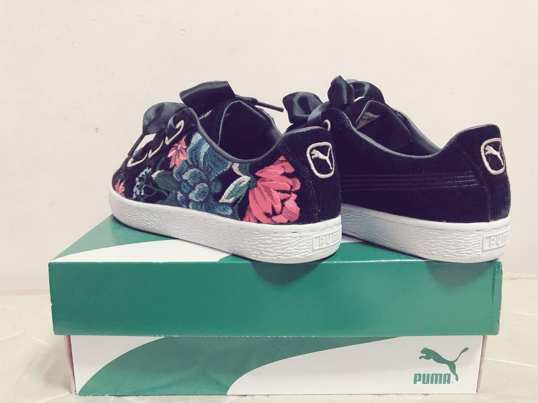 free shipping d818d 9b369 Puma Basket Heart Hyper Embroidery Flower Black Gold Women ...